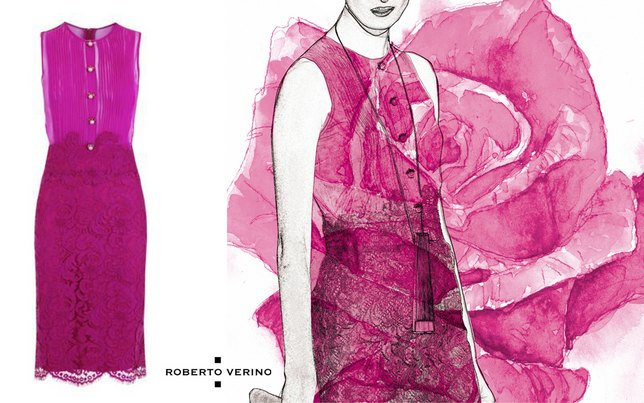 robe fuchsia, édition limitée, collection Roberto Verino Black Label