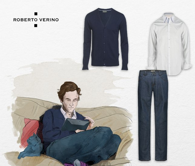 Roberto Verino Man, jeans, White shirt and cardigan