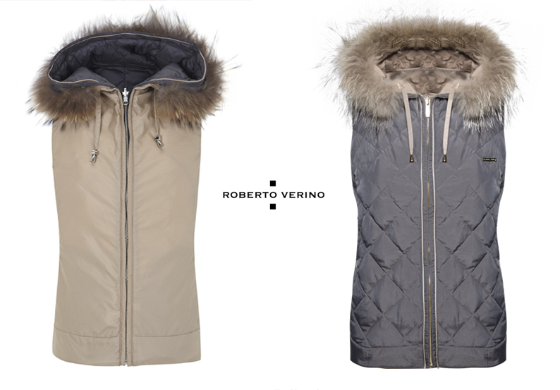 Reversible vest with fur collar