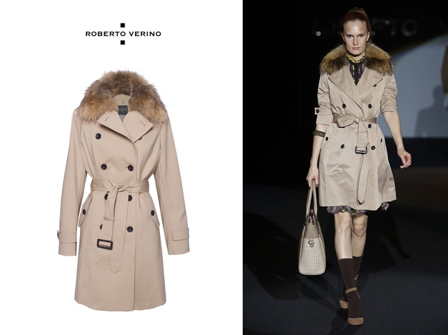 trench with fur collar