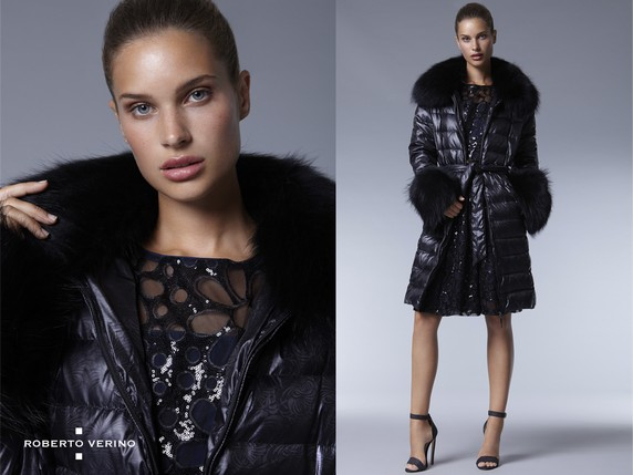 Long black ski jacket with fur collar and cuffs