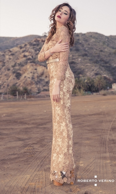 Cyrine Jarretie and Long beige straight lace dress with transparencies