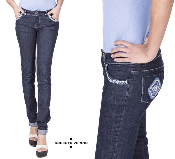 Blue embroidered jeans pants Roberto Verino