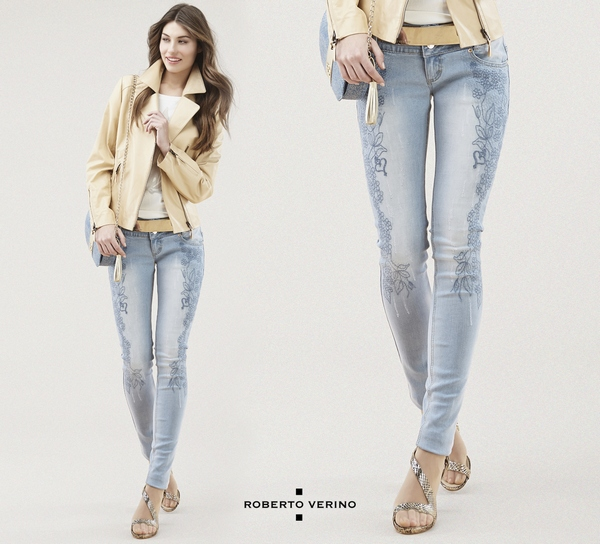 Embroidered jeans pants Roberto Verino