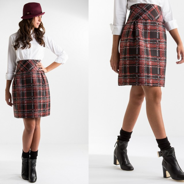 Red checked jacquard skirt