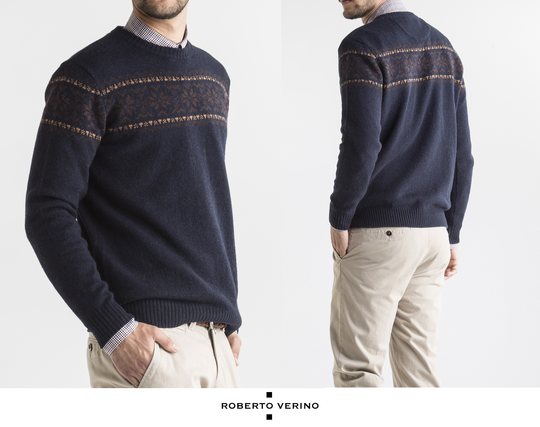 Navy blue jacquard sweater - Roberto Verino