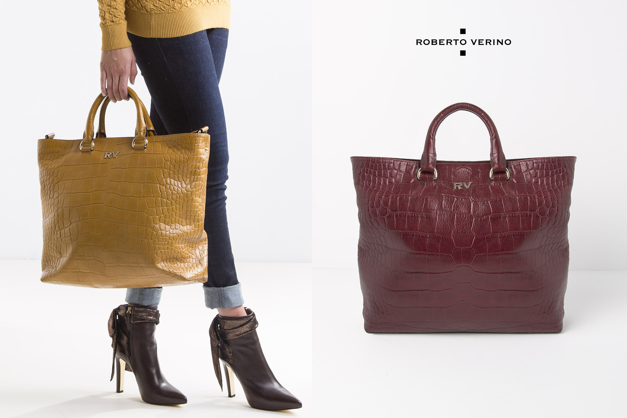 Scarlet leather tote bag - Roberto Vernio