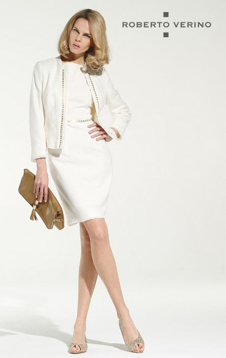 White dress and round neck jacket