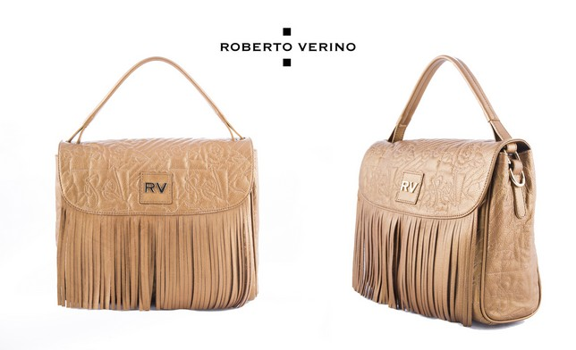 Roberto Verino metallic finish cowhide hobo bag with embroidery and fringe on flap