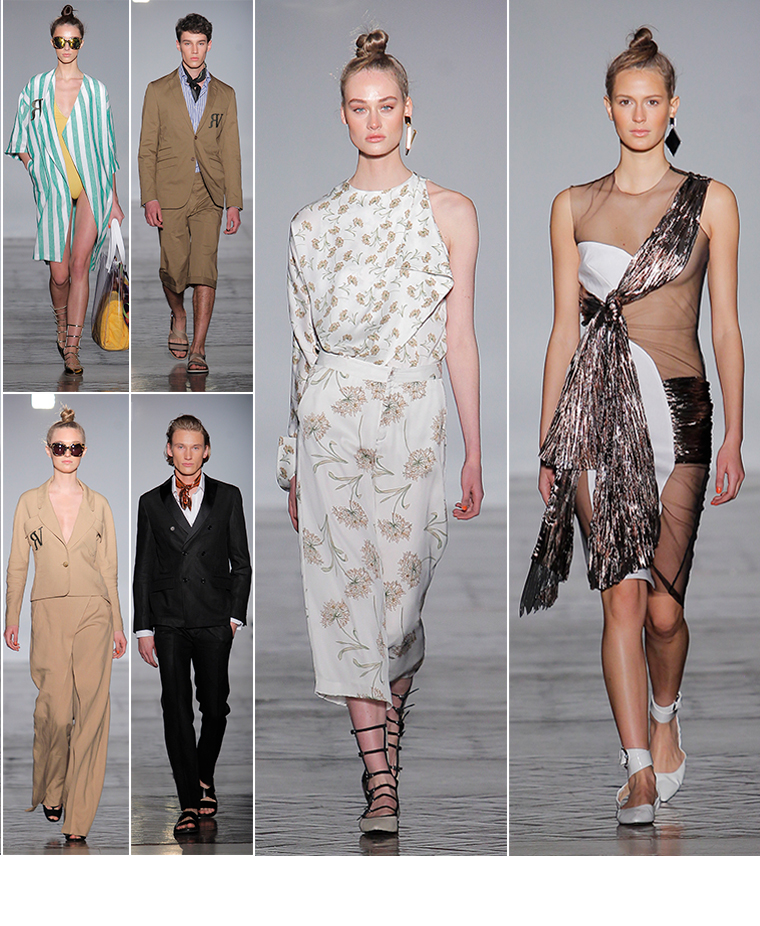 Print dresses and men's camel suits by Roberto Verino