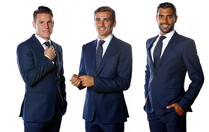 Kevin Gameiro, Antoine Griezmann and Augusto Fernández wearing the Roberto Verino suits
