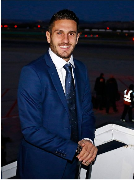 Lead soccer player Koke poses with Verino's official Atlético de Madrid suit