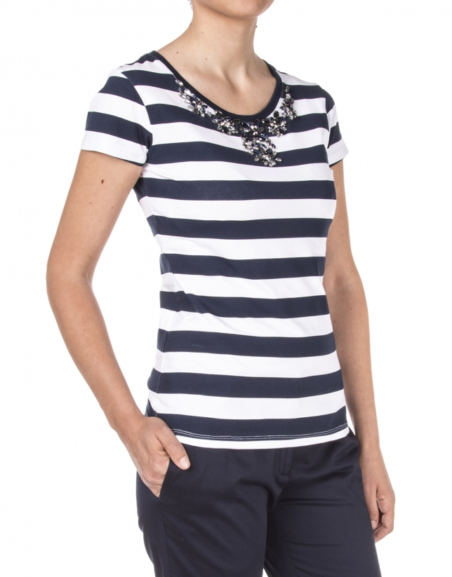 Camiseta listas azules pedrería