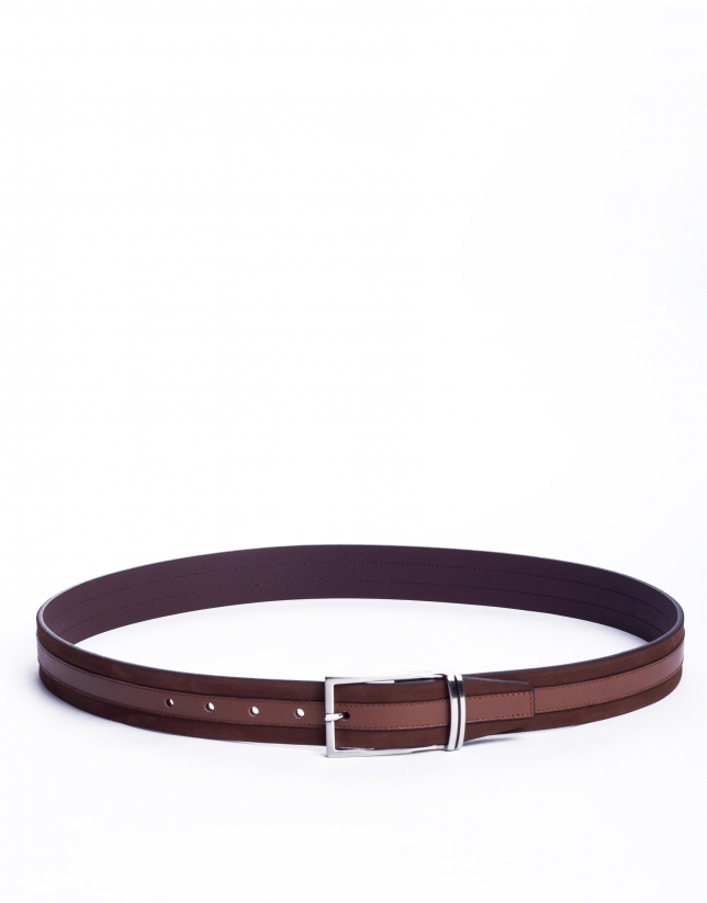 Suede and napa belt