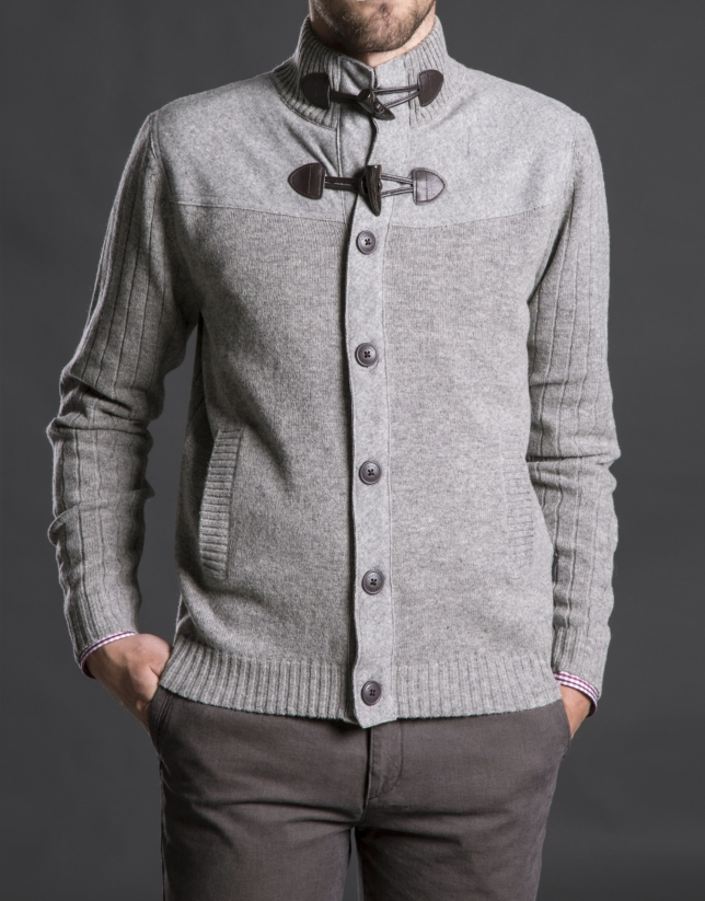 Gray knit yoke jacket