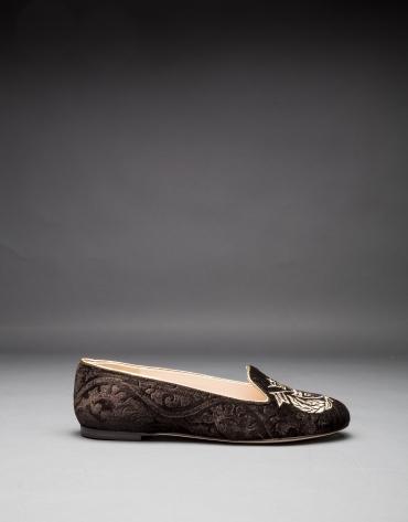 Slipper velours marron avec écusson brodé lurex or clair