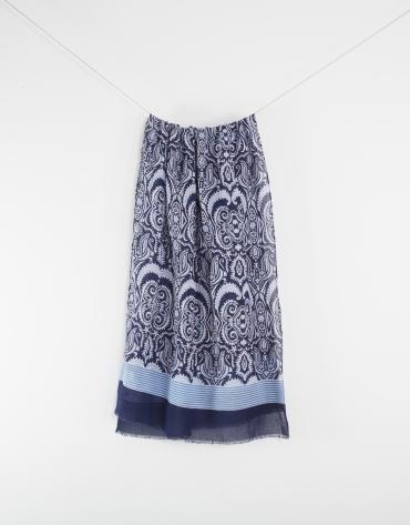 Foulard à motifs paisley en bleu