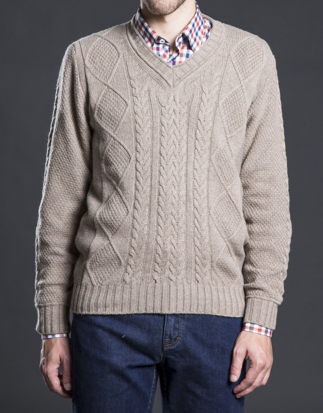 Brown V-neck sweater with cable stitch design