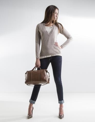 Camel V-neck sweater