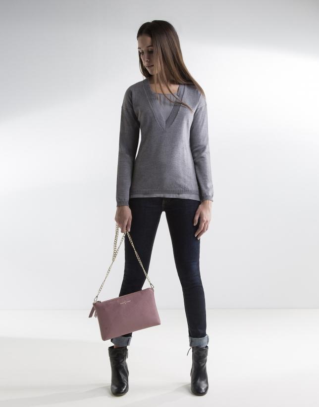 Grey V-neck sweater