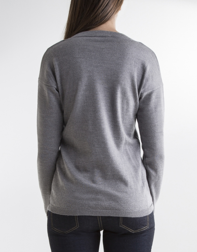 Jersey cuello pico gris