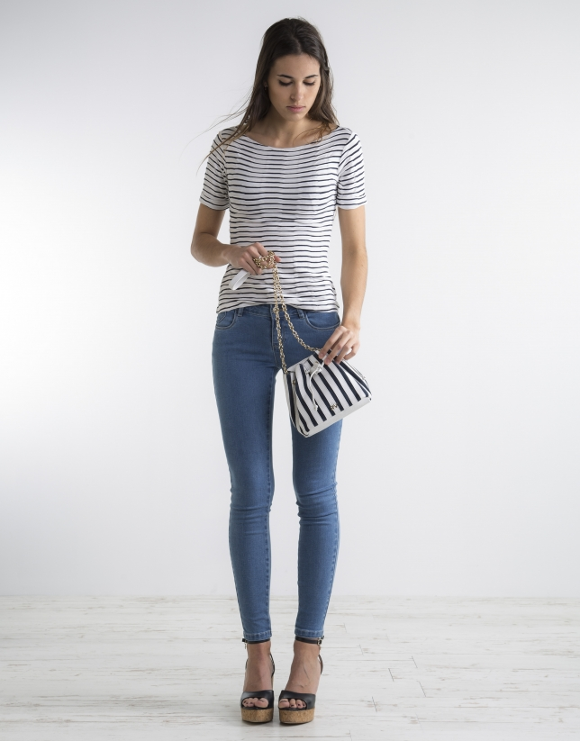 Blue knit top with