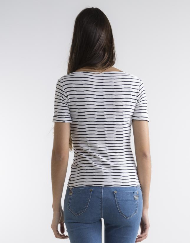 Camiseta punto fantasía azul