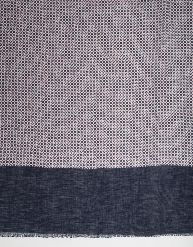 Foulard à pois en bleu marine et rouge