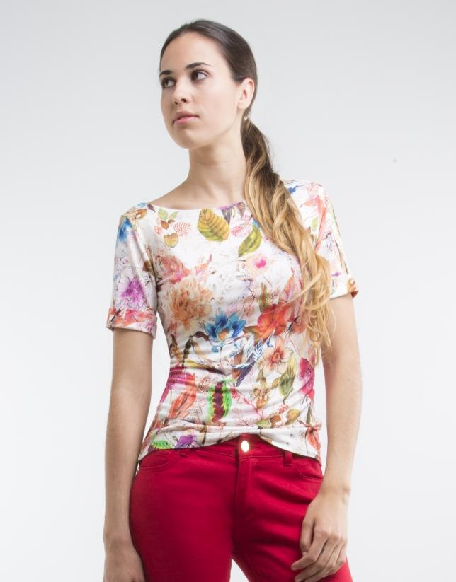 T-shirt en maille, imprimé floral blanc