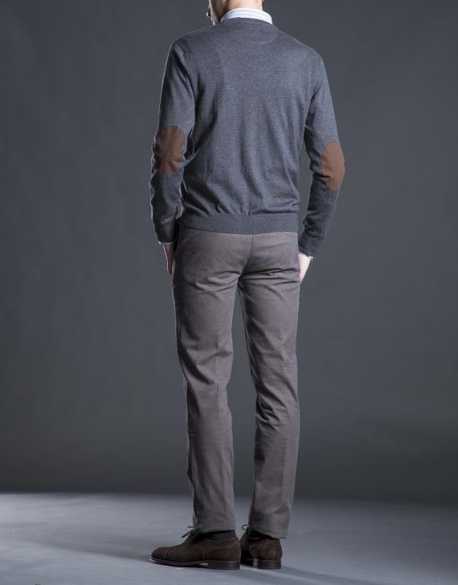 Cardigan punto gris coderas