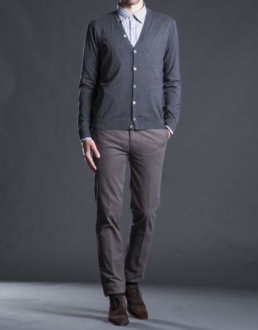Gray knit cardigan with elbow patches