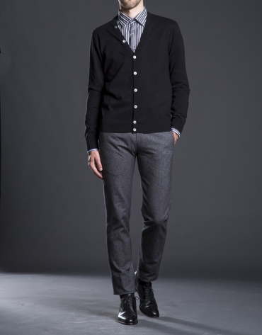 Black knit cardigan with elbow patches