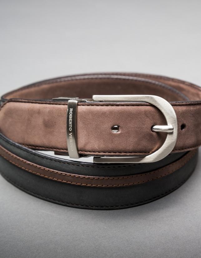 Cinturón ante reversible visón gris