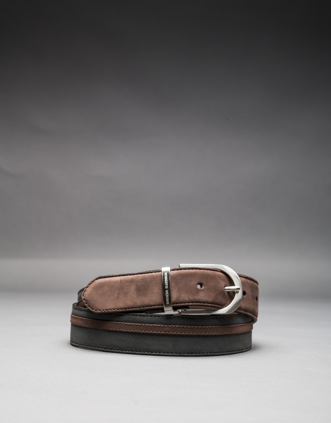 Reversible gray - taupe suede belt