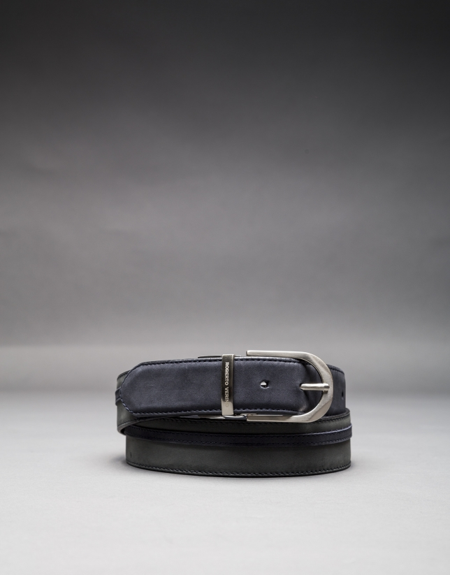 Reversible blue - gray suede belt