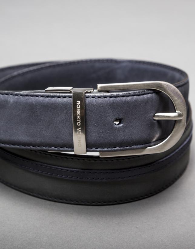 Reversible blue - gray suede belt