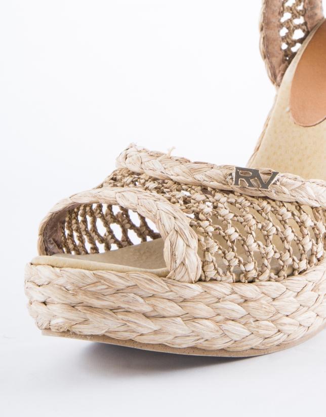 Marsella : sandale en raphia tressé, couleur naturelle