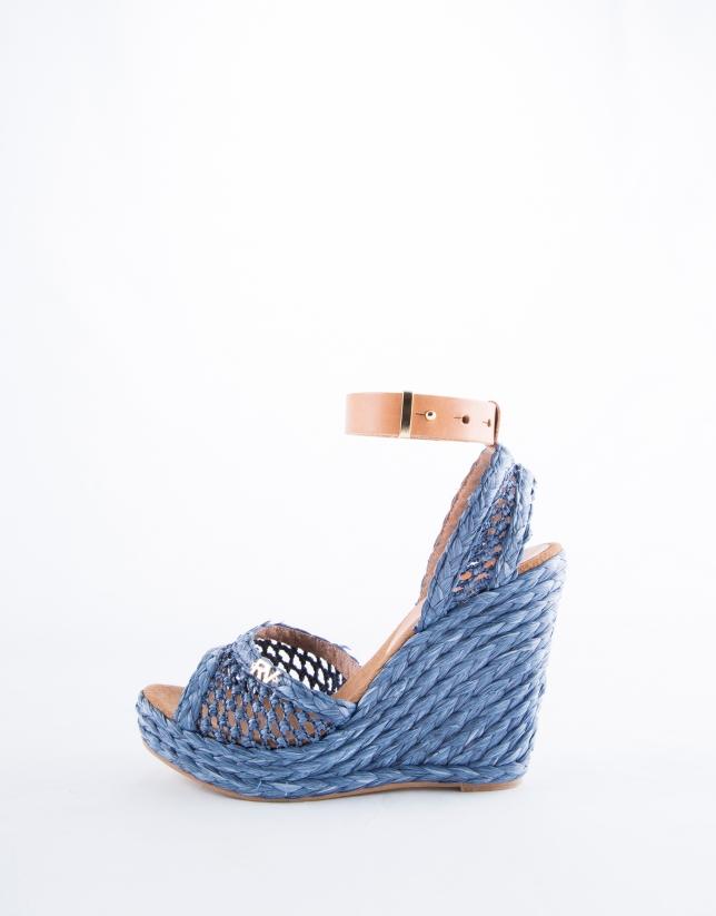 Sandalia Marsella rafia trenzada color azul