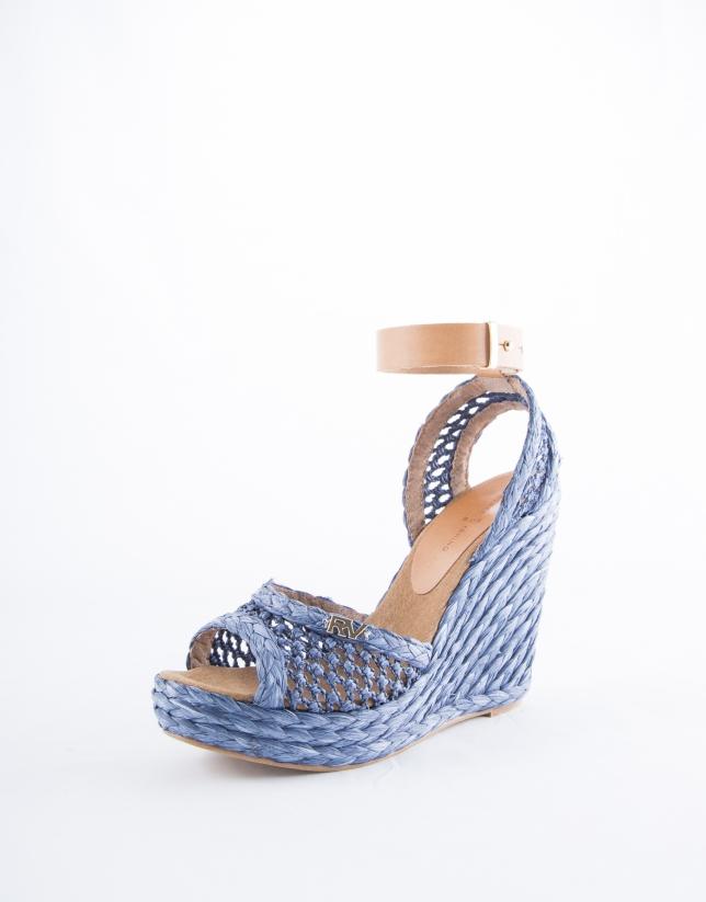 Marsella : sandale en raphia tressé bleue