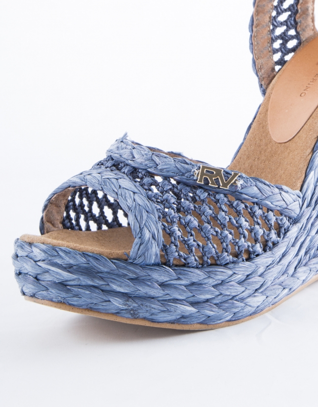 Blue braided raffia Marsella sandals