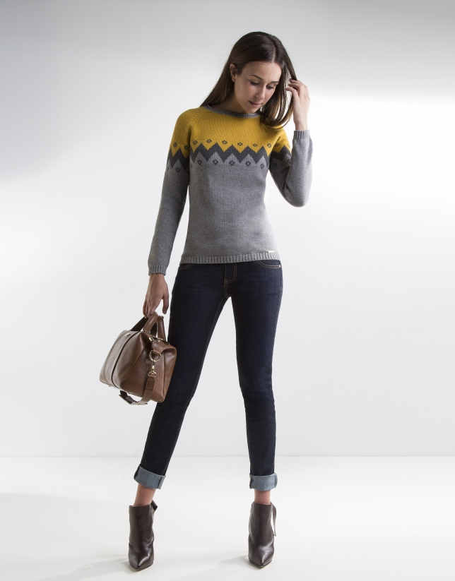 Jersey dibujo zigzag gris y mostaza