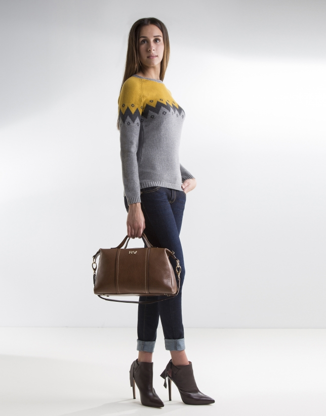 Grey and mustard zigzag print sweater