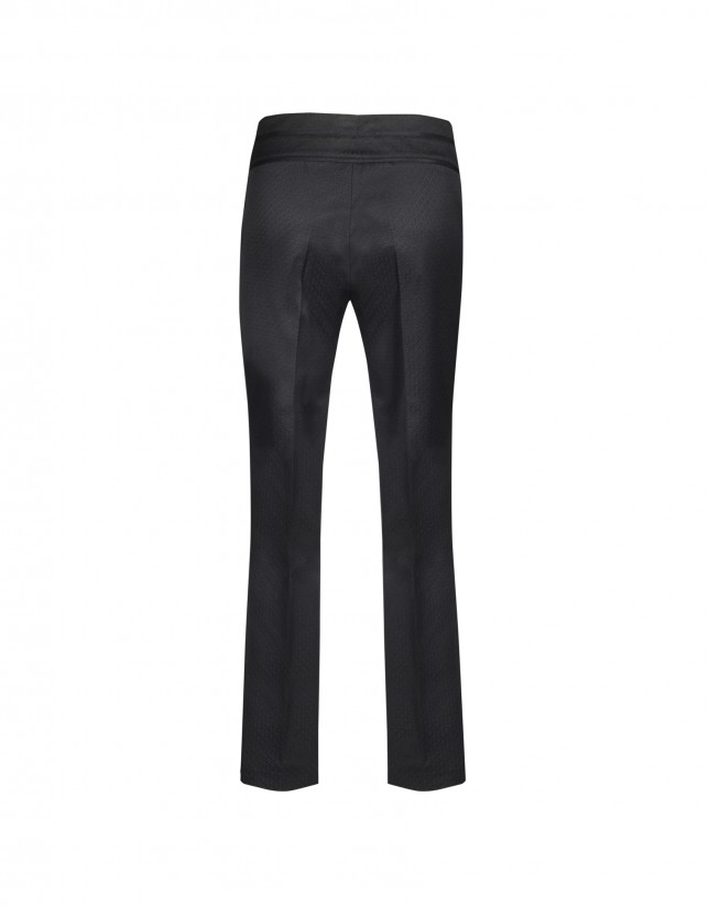 Black piqué pants