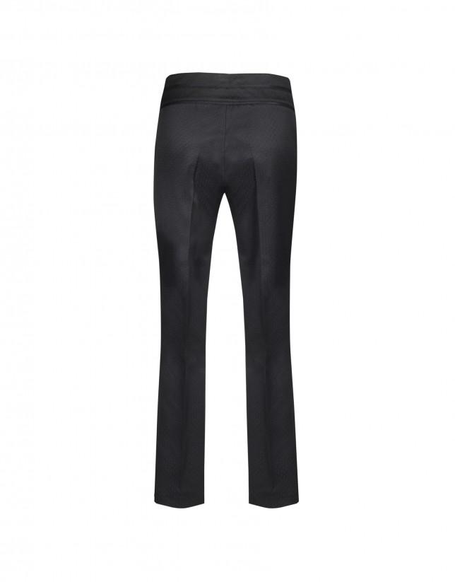 Pantalón piqué pitillo negro
