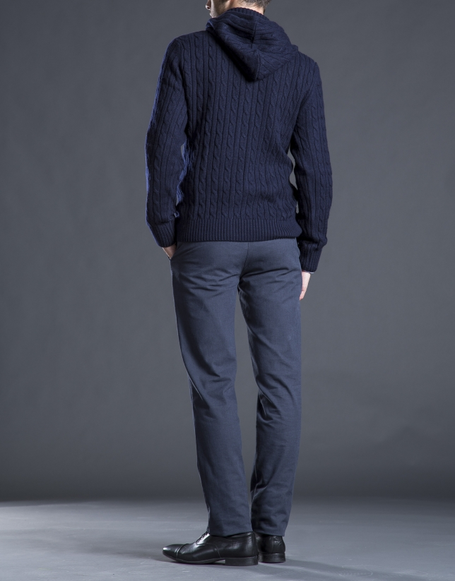 Navy blue knit jacket with detachable hood