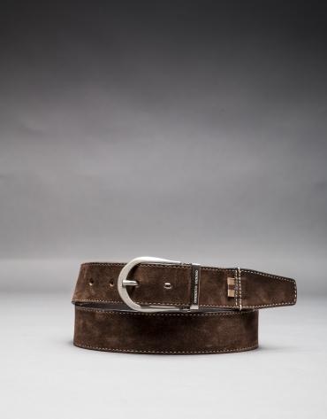 Reversible brown suede belt
