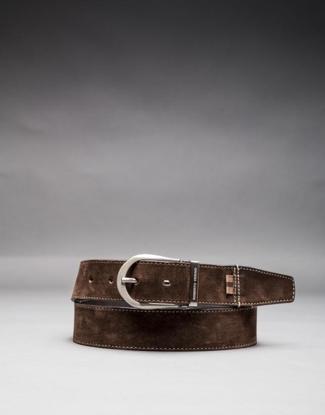Cinturón ante marrón reversible