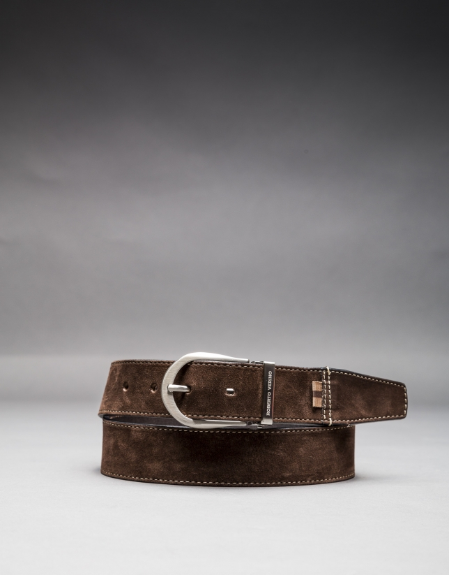 Reversible brown suede belt