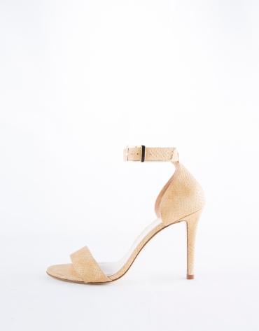 Cairo : sandale en cuir, imprimée écailles de serpent couleur camel