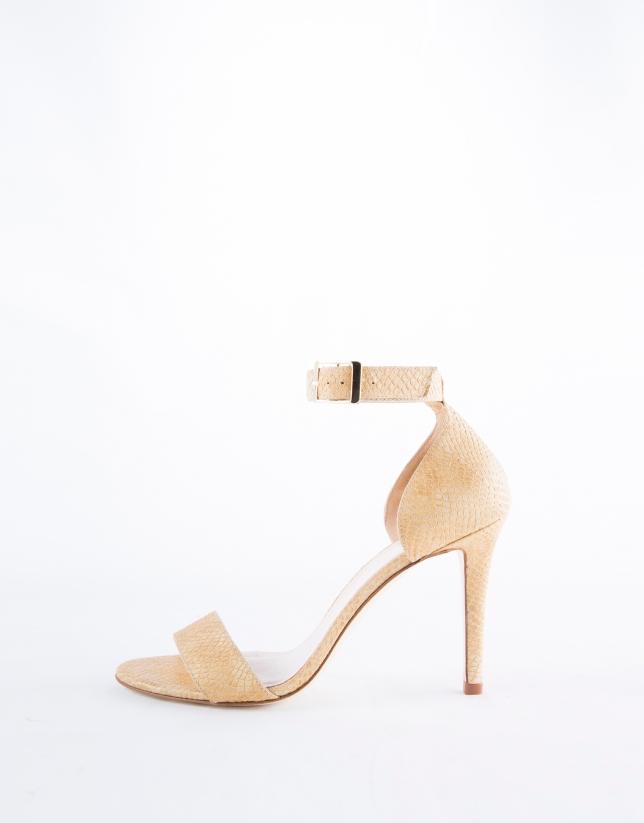 Camel embossed snakeskin Cairo sandals